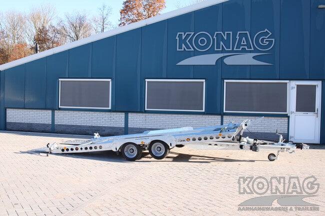 Ifor Williams kantelbare autotransporter 3500 kg gekanteld