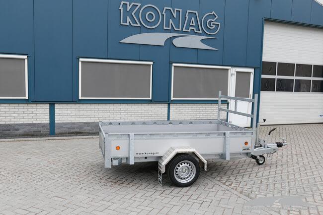 Proline enkelas bakwagen aluminium 250x130 zijaanzicht
