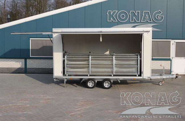 Compacte Konag presentatiewagen voorzien van trappen zijaanzicht