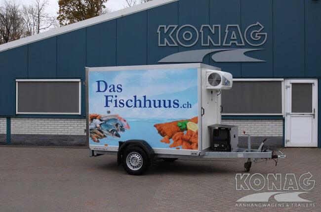 Vriesaanhangwagen enkelas 255x150x160 met generator