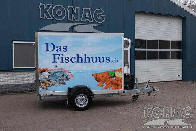 Vriesaanhangwagen enkelas 255x150x160 met bestickering