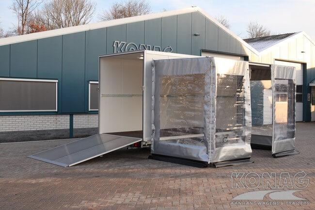 Bloemenwagen zeilopbouw en geopende kleppen - Konag Aanhangwagens