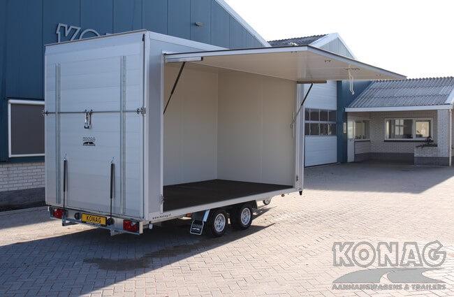Bloemenwagen verkoopklep geopend - Konag Aanhangwagens
